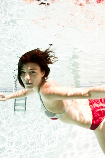 Jessica Paré swimming in Los Angeles